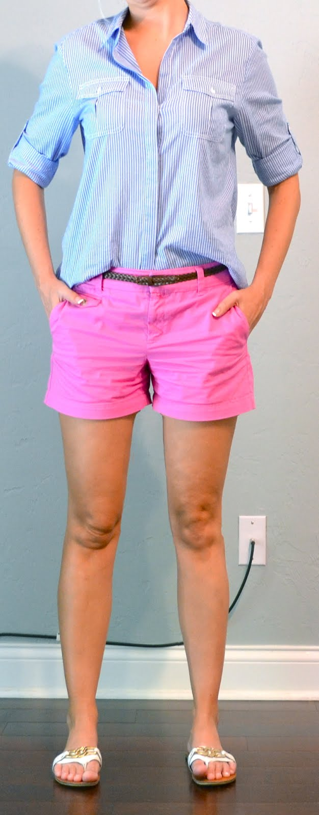 Outfit Post Pink Shorts Blue Striped Buttondown Flipflops