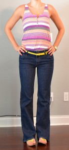 outfit post: purple and pink striped tank, highwaisted jeans, yellow belt