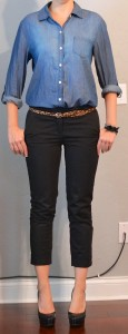 outfit post: chambray shirt, black cropped pants, leopard belt