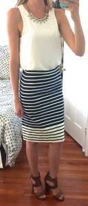 guest post – sister week: white sleevless blouse, striped pencil skirt, block heels