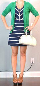 outfit posts: navy and white striped dress, kelly green cardigan