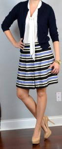 outfit post: striped blue & yellow a-line skirt, navy cardigan, white tie-neck blouse