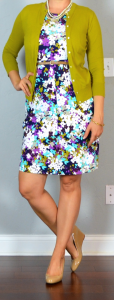 outfit post: purple sleeveless floral ponte dress, green/mustard cardigan, nude wedges