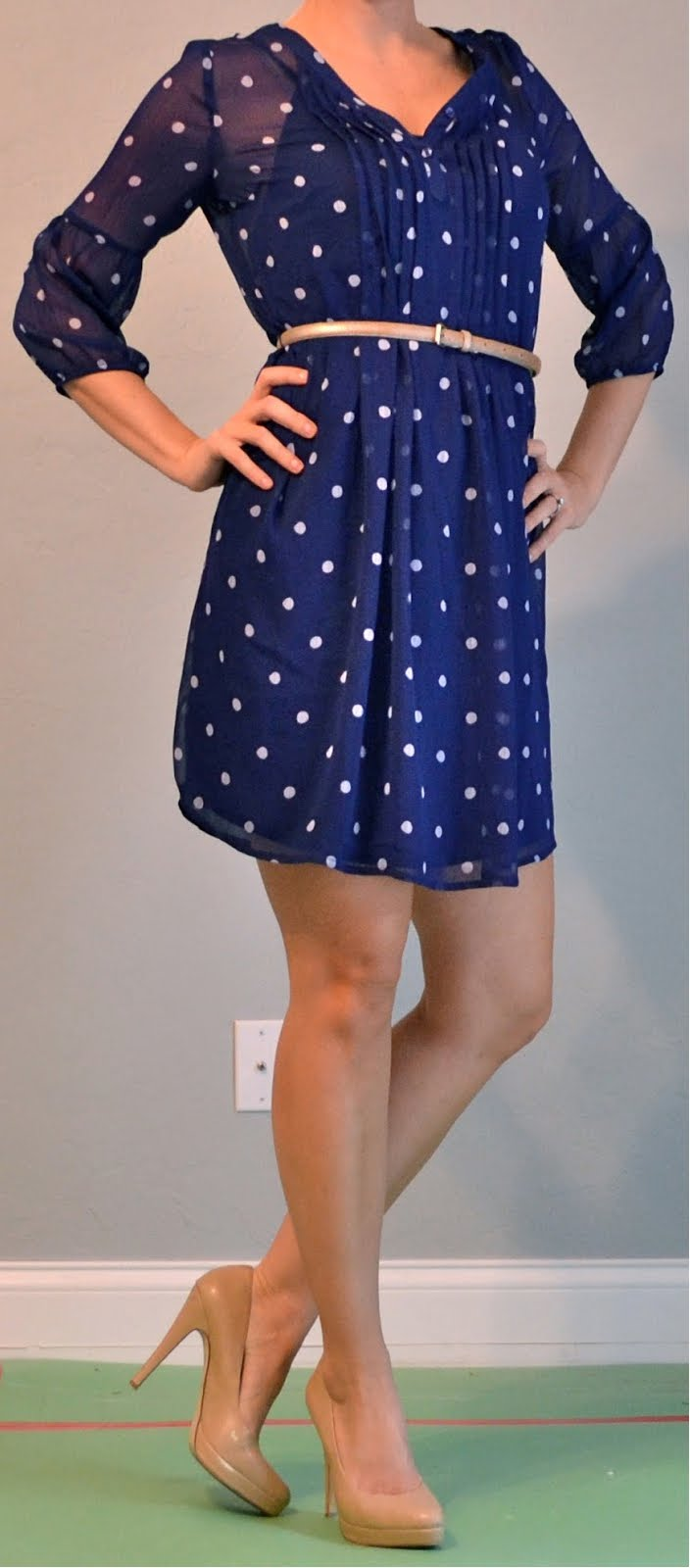 outfit post  polka dotted dress  gold belt