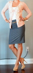 outfit post: pink cardigan, grey pencil skirt, gold belt
