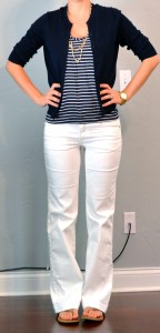 outfit post: striped tank, navy cardigan, white jeans
