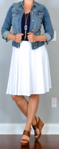 outfit post: white midi skirt, navy shirt, jean jacket, brown perforated wedges