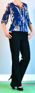 outfit post: blue floral blouse, black pants