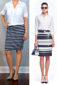 outfit post: white button down portofino shirt, striped jersey pencil skirt