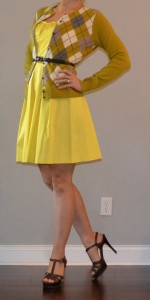 outfit post: yellow dress with argyle cardigan