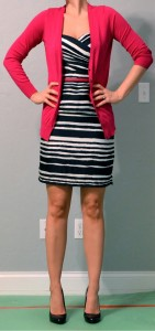 outfit post: striped dress with pink cardigan