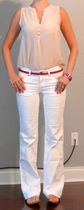 outfit posts: nude sleeveless blouse, white jeans, pink belt