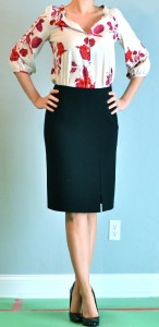 outfit post: pink floral blouse, black pencil skirt