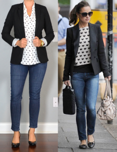outfit post: polka-dot blouse, skinny jeans, black pumps