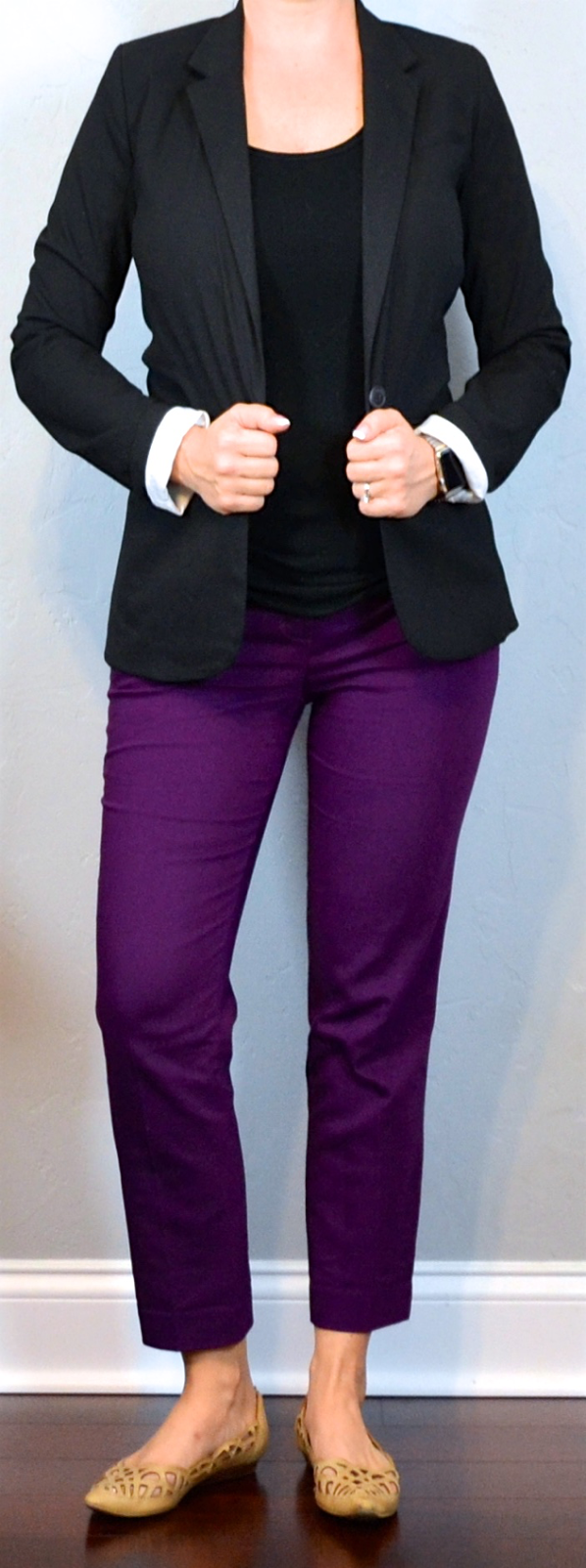 outfit post: purple ankle pants, black crepe shell, black