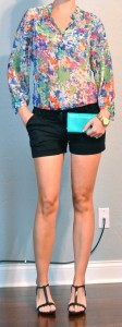 outfit post: floral blouse, black shorts, t-strap wedges