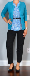 outfit post: blue print blouse, teal cardigan, black ankle pants, black wedges
