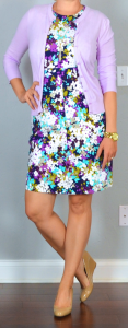 outfit post: purple sleeveless floral ponte dress, purple/lilac cardigan, nude wedges