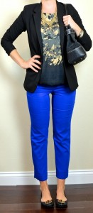 outfit post: blue cropped pants, black & gold patterned blouse, black jacket
