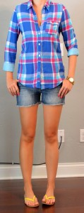 outfit post: bright plaid button down, jean shorts