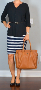 outfit post: black buttondown top, striped pencil skirt, black wedges, brown laptop tote