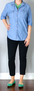 outfit post: chambray shirt, black cropped pants, teal pointed toe flats