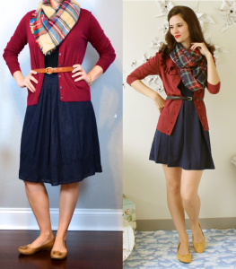 outfit post: burgundy cardigan, navy a-line midi skirt, plaid scarf, brown ballet flats