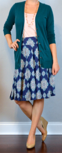 outfit post: navy & pink full mosaic skirt, teal cardigan, pink cami, nude wedges