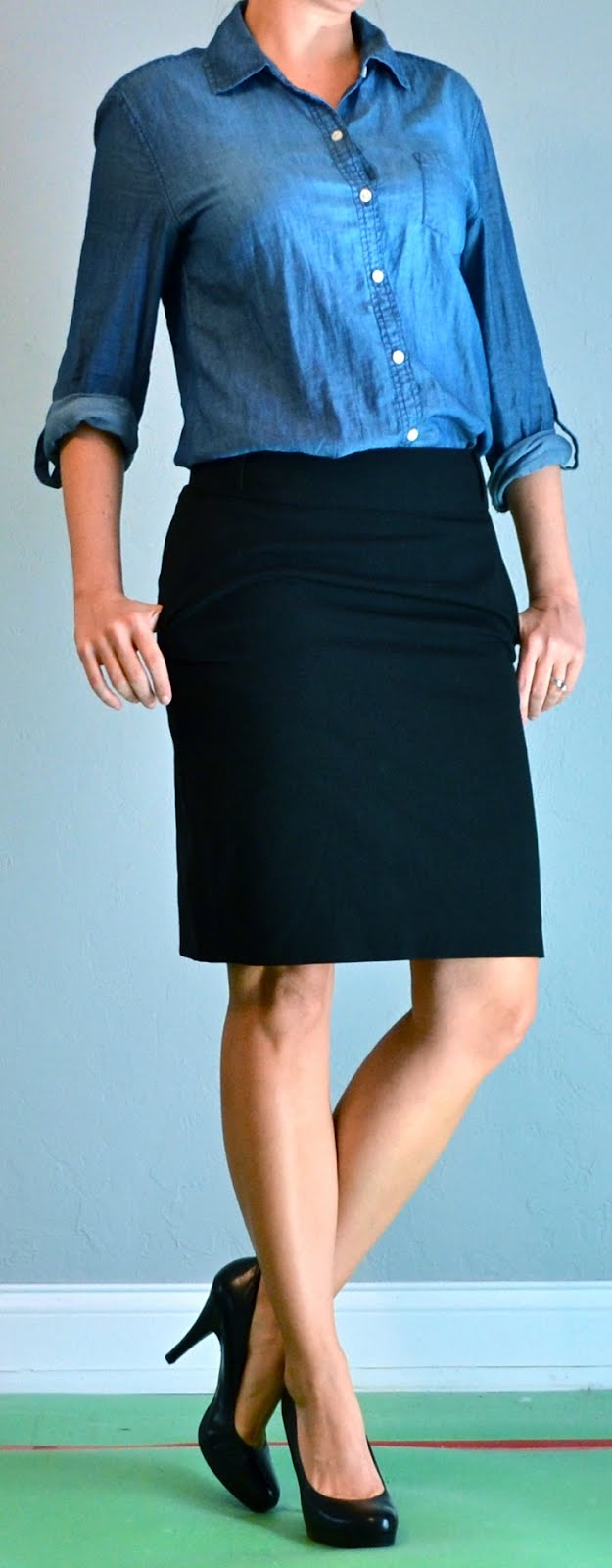 Outfit Post Chambray Shirt Black Pencil Skirt Black Heels
