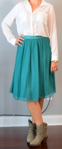 outfit post: white georgette blouse, teal midi skirt, ankle boots