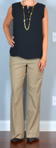 outfit post: black ruffle shell, tan pants, black pumps, gold station necklace