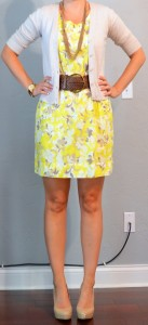 outfit post: yellow dress, tan cardian, wide belt