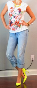 outfit posts: floral shirt, light cropped jeans, neon yellow accessories