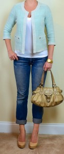 outfit post: mint cardigan jacket, white t-shirt, boyfriend jeans, nude pumps