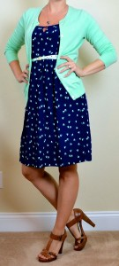 outfit post: navy heart dress, mint cardigan, mint belt