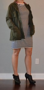 outfit post: military jacket, striped dress, black boots
