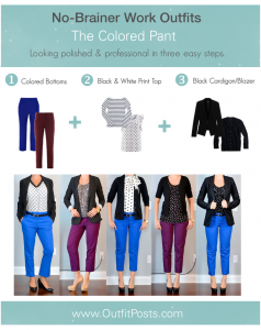 "outfit post: no-brainer work outfits ""The Colored Pant Formula"""