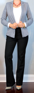 outfit post: grey blazer, white shell, black pants, grey pointed toe pumps