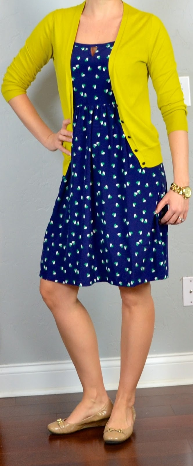 outfit post: navy & white polka dot dress, nude heels