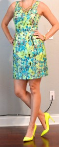 outfit post: bright floral dress, neon yellow heels