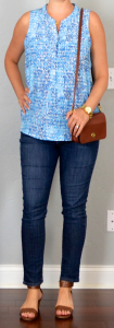 outfit post: blue print blouse, skinny jeans, brown wedge sandals