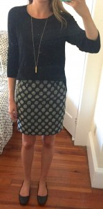 outfit post – sister week: black sweater, patterned pencil skirt, black flats