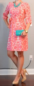outfit post: peach floral dress, teal accessories