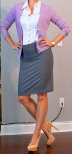 outfit post: grey pencil skirt, purple cardigan, white buttondown shirt