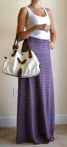 outfit post: white tank, purple maxi skirt