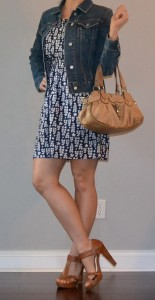 outfit post: blue dress, jean jacket, tan heels