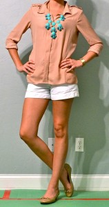 outfit posts: taupe top, white shorts, turquoise necklace