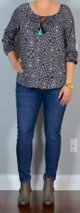 outfit post: peasant top, skinny jeans, ankle boots