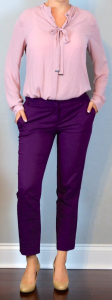 outfit post: pink bow blouse, purple ankle pants, nude wedges