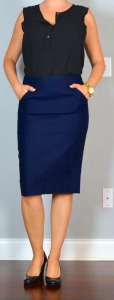 outfit post: black ruffle shell, navy pencil skirt, black wedges